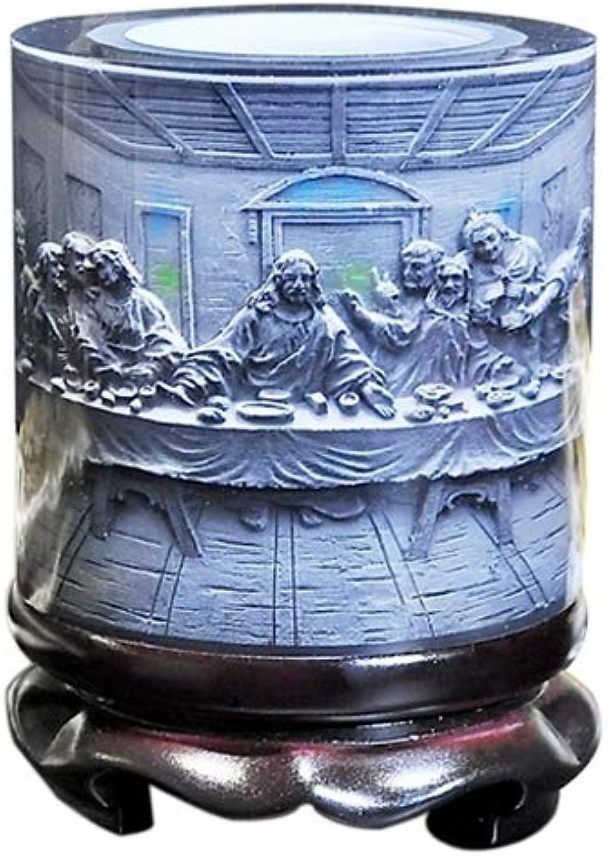 Drum Shape Crystal Resin Material Jesus Savior Embossed Pattern Ornaments redation Pen Holder