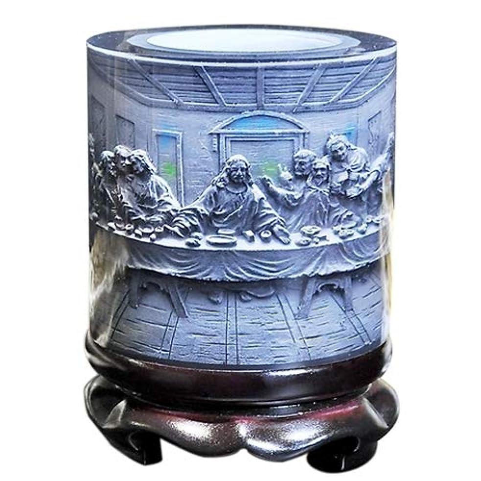 船ウィンクパノラマ学用品 ドラム形状クリスタル樹脂素材イエス救い主エンボスパターン装飾品回転ペンホルダー