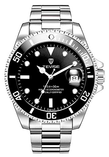 Men Automatic Mechanical Anti-Scratch Rotatable Outer Ring Waterproof Luminous Watches (Black)