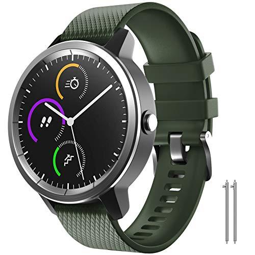 NotoCity para Garmin Vivoactive 3 Correa, Banda de Repuesto de Silicona Suave de 20 mm para Garmin Forerunner 245 / Samsung Gear Sport/Galaxy Watch 42 mm(S,Ejercito Verde)