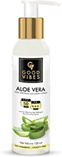 Good Vibes Aloe Vera Sunscreen Lotion SPF 50 - 120 ml - Lightweight Sun Protection for All Skin Types For Men & Women - Hy...