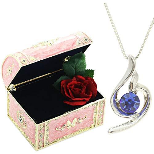 [デバリエ] y441-jp(sap) 9月誕生日プレゼント 女性 彼女 妻 嫁 母 人気 母の日のプレゼントお返し 贈り物 ネックレス レディース セット品(オルゴール1組 ネックレス1組) ラッピング付 クリスタル シルバー