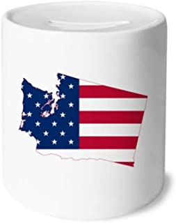 Washington America Map Stars Stripes Flag Money Box Saving Banks Ceramic Coin Case Kids Adults