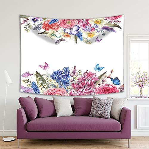 Henge Home Flowers Printed Tapestry/Tapestry for Home Living Room Bedroom Dorm Decoration Durable Wall Hanging - Daffodils Roses Butter
