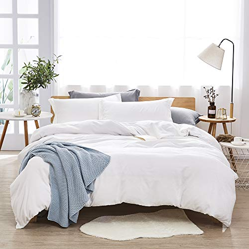 Dreaming Wapiti Duvet Cover King 100% Washed Microfiber 3pcs Bedding Set,Solid Color-Soft and Breathable with Zipper Closure & Corner Ties, Pure White