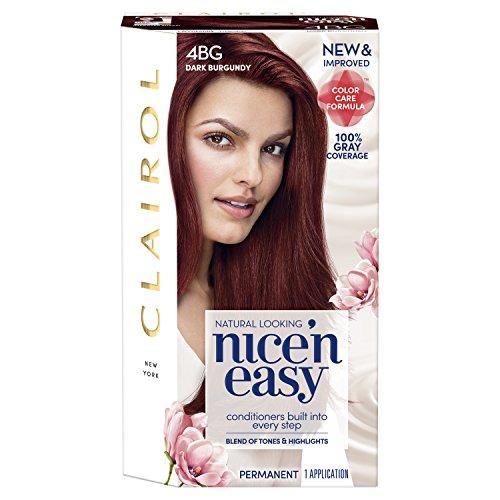 Clairol Nice'n Easy Permanent Hair Color, 4BG Dark Burgundy, 1 Count