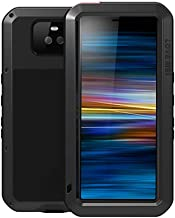 LOVE MEI Case for Sony Xperia 10 Plus, 6.5-inch Full Body Outdoor Shockproof Heavy Duty Hybrid Aluminum Metal Armor Snowproof Cover with Tempered Glass, Support Wireless Charging (Black)