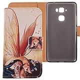 Lankashi PU Flip Leder Tasche Hülle Case Cover Schutz Handy Etui Skin Für Medion Life X5520 MD 99657 5.5