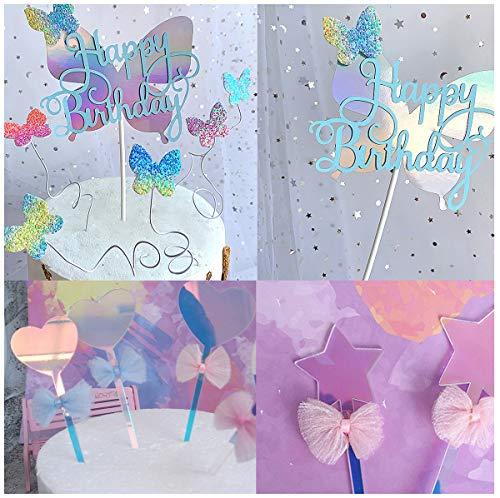 dancepandas Decoración para Tartas de Mariposa 20PCS Topper de Tarta Cake Topper Amor Estrellas Happy Birthday Topper Feliz Cumpleaños, Diseño de Mariposas