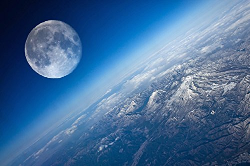 Surface of Planets Natural Satellite Earth Moon (No.010305) Poster Art...