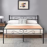 VECELO Bed Frame/Mattress Foundation with Vintage Headboard & Footboard, Easy Assembly, Queen, Black