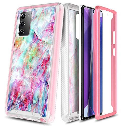 NZND Case for Samsung Galaxy S20 FE 5G with Built-in Screen Protector, Full-Body Protective Shockproof Rugged Bumper Cover, Impact Resist Durable Phone Case (Marble Design Fantasy)