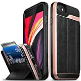 Vena vCommute Wallet Case Compatible with Apple iPhone SE 2020 / iPhone 8 7 (4.7'-inch), (Military Grade Drop Protection) Flip Leather Cover Card Slot Holder with Kickstand - Rose Gold