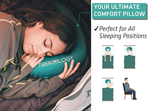 Trekology Ultralight Inflatable Camping Travel Pillow - ALUFT 2.0 Compressible, Compact, Comfortable, Ergonomic Inflating Pillows for Neck & Lumbar Support While Camp, Hiking, Backpacking