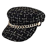 WOWOWO, Sombrero de Tweed con Cadena de Metal Vintage para Mujer, Sombrero Retro de Invierno, Boinas Planas, Sombreros cálidos, Gorra Juvenil a Cuadros para Mujer