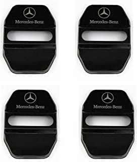 4Pack Stainless Steel Car Door Lock Latches Cover Protector for Mercedes GLK-Class,S-Class Maybach,A/C/CLA/GLA/G/M/S/SL-Class AMG,etc All Models-black (black, Mercedes-Benz)