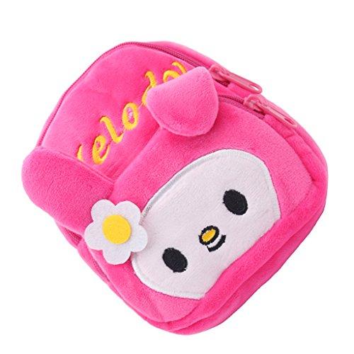 D DOLITY Min Puppentasche Schultasche Rucksack Schulranzen mit Tier Muster für 18 Zoll weibliche Puppen Zubehör - Rosa + Weiß