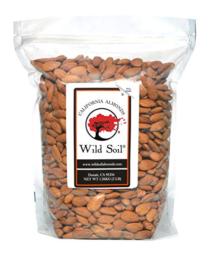 Wild Soil Almonds - Number 1 Higher Protein Almond, Distinct and Superior to Organic, Patent Pending Technology that Regenerates Soil, Herbicide Free, Steam Pasteurized, Probiotic, Raw 3LB Bag, Emergency Food, Survival Food…