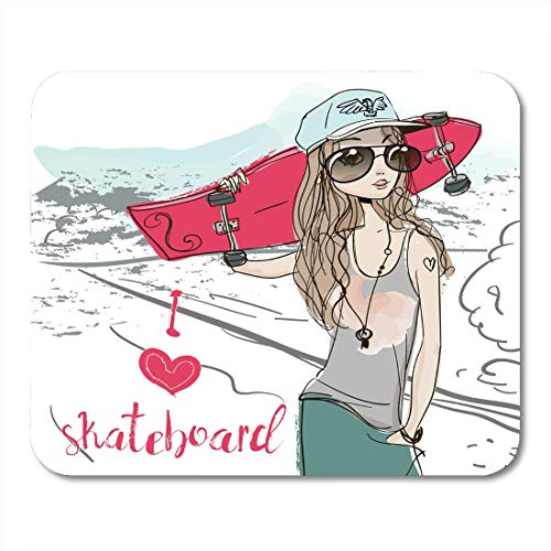 AOHOT Mauspads Pink Love Summer Girl Skateboard Party Spring Woman Beautiful Beauty Mouse pad 9.5