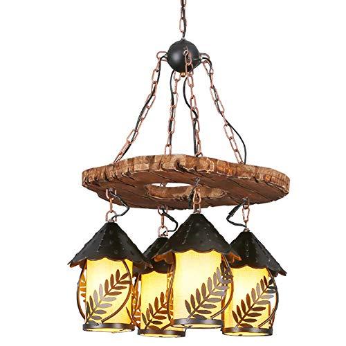 Kronleuchter Pendelleuchte Massivholz Metall Blätter Dekoration eleganten Tuch Lampshade Retro Design schafft Raum Pendelleuchte Eisen, Holz, Stoff Deckenleuchte