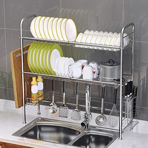 Escurreplatos de acero inoxidable de 2 niveles sobre el fregadero, estante de almacenamiento de cocina, escurreplatos, escurreplatos, soporte de cubiertos para el hogar y la cocina