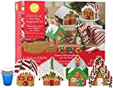 Gingerbread House Kit, Christmas Mini Village Set. Build It Yourself Kit - Includes 4 Sets Of House Panels, 4 Types Of Candies, Fondant, Red & White Icing, Decorating Bags & Tips, Bundled With (4) SEWANTA Candy Cup Holder