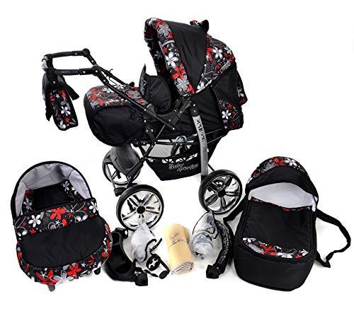 Kamil - Landau pour bébé + Siège Auto - Poussette - Système 3en1, incluant sac à langer et protection pluie et moustique - ROUES NON PIVOTABLES (Système 3en1, noir et petites fleurs)