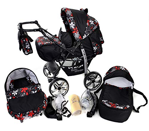 Kamil - Sistema de viaje 3 en 1, silla de paseo, carrito con capazo y silla de coche, RUEDAS ESTÁTICAS y accesorios (Sistema de viaje 3 en 1, negro, flores coloridas)