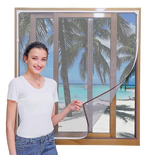 YUZZY DIY Insektenschutz Magnetfenster, Max 100 x 130 CM, Weiß Magnet Rahmen für Fliegengitter Fenster Mückengitter, waschbares, Schwarz Netz, kein Stanzen erforderlich Flammhemmend
