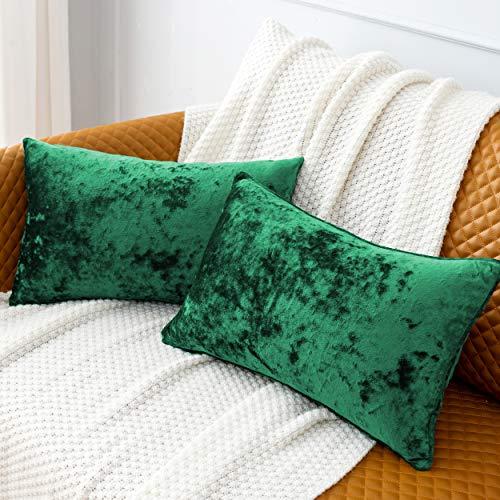 HORIMOTE HOME Pack de 2 fundas de cojín rectangulares de terciopelo aplastado verde para sofá, silla, cojines...