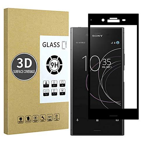 E-Hamii Compatibile con Protezione dello Schermo Sony Xperia XZ1,[Cornice di Allineamento][Alta Definizione][Senza Bolle],Vetro Temperato 3D Premium per Sony Xperia XZ1(Bordo Nero)