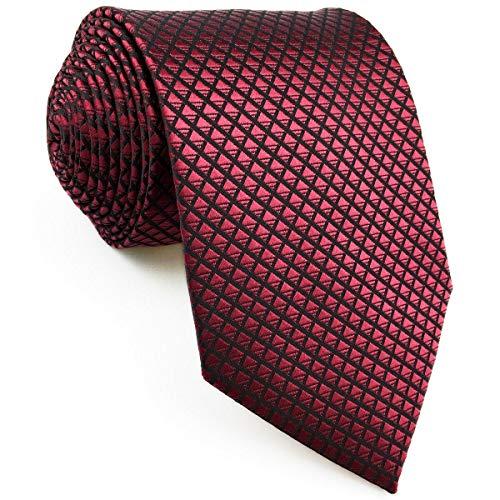 shlax&wing Cravatta da uomo Tinta Unita Rosso Nozze Seta Magra 6cm