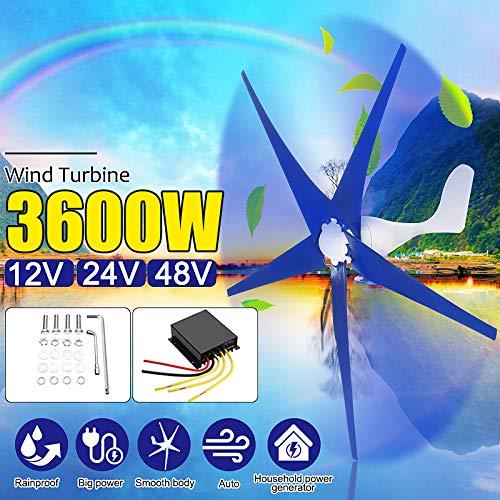 SISHUINIANHUA 3600 Watt 3/5 Nylon Klingen Faser Windkraftanlagen Generator Fit 12 V / 24 V 48 V mit Windregler Geschenk für Zuhause Lichter Oder Boot,48v,5