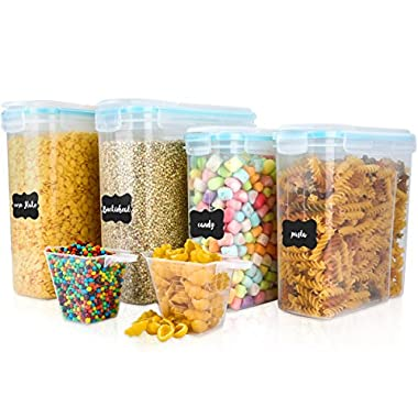Cereal Container, VERONES Airtight Storage Containers Perfect for Flour Container Dry Food Storage Containers 4 Piece 2 Size (20 Chalkboard Labels & 2 Measuring Cups Included)