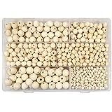 TOAOB 1050 Stück Natürliche Runde Holzperlen Set 6 bis 14mm Gemischte Größe Zwischenperlen mit Box für DIY Schmuck Herstellung