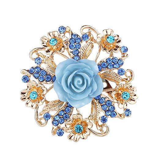 KAIKUN Broche Pins Brooch Brooches for Women Vintage Scarf Brooches for Women Rhinestone Brooch Jewelry Brooch Ladies Brooch Diamante Brooch Fashion Brooch Blue