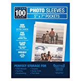 Samsill 2 Pocket Sleeves, Page Protectors for 3 Ring Binder, Clear, Archival Photo Sleeves That Holds up to 5 x 7' Photos, Manuals, Coupons, 100 per Pack