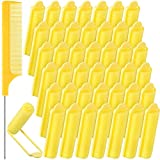 43 Pieces Foam Sponge Hair Rollers Set, Includes 42 Pieces Soft Sleeping Hair Curlers Flexible Hair Styling Sponge Curler and Stainless Steel Rat Tail Comb Pintail Comb for Hair Styling (Yellow)