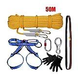WYX Kit de Escalada al Aire Libre Equipo de Escalada Descender Seguridad Cuerda caverna Downhill Alpinismo protección Set 50m