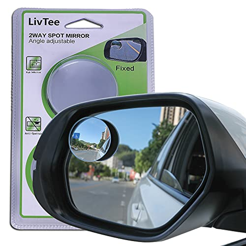 """LivTee Blind Spot Mirror, 2"""" Round HD Glass Frameless Convex Rear View Mirror with wide angle Adjustable Stick for Cars SUV and Trucks, Pack of 2"""