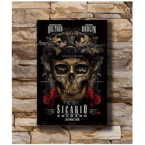 Sanwooden Sicario Tag des Soldado Poster Art Leinwanddruck für Wohnzimmer Wohnkultur Druck auf Leinwand -50x70cm ohne Rahmen