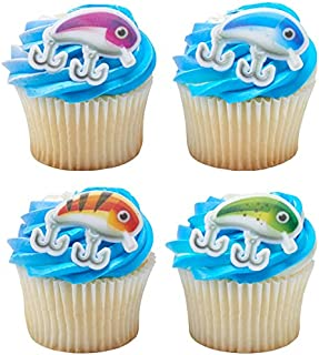 24 Fishing Lure Cupcake Rings Toppers