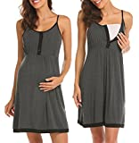 Ekouaer Maternity Nursing Dress for Breastfeeding Nightgowns Pajamas for Women Dark Grey