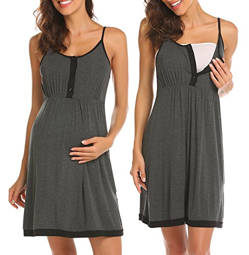 Ekouaer Maternity Nursing Nightgown Dress Sleepwear Breastfeeding Pregnancy Dark Grey