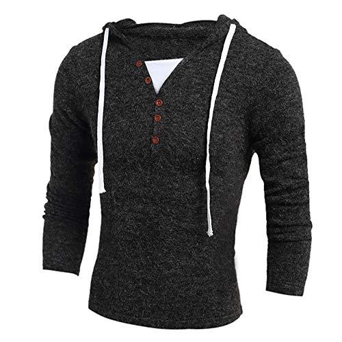 Lisansang Sudaderas de punto para hombre con capucha de manga larga para invierno, de manga larga, de punto, cálido (color: gris oscuro, tamaño: XXL)