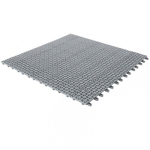 Multiplate Piastrelle Flessibili in Plastica 55,5 x 55,5 cm da Interno, Esterno e Giardino, Grigie, Drenanti e Autobloccanti Pezzi 4