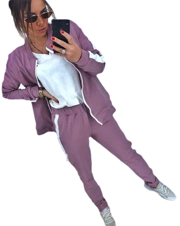 セールお新聞VITryst Womens 2 Piece Set Long-Sleeve Stripe Yoga Zip Up Sportswear Tracksuit