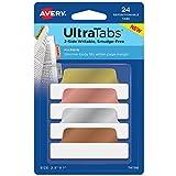 AVERY Ultra Tabs Repositionable Margin Tabs, Two-Side Writable, 2-1/2 x 1, Metallics, 24 Tabs (74786)