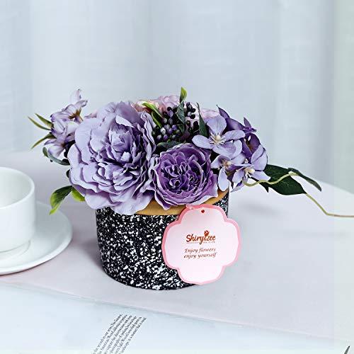 Efanty Künstliche Blumen Pfingstrosen Seidenblumen Blumen Deko Kunstblumen Blumen Handgemachte Pflanzen mit Mini Zement Blumentopf für Zuhause Hochzeit Dekoration Party Festival Büro Garten (Lila-1)