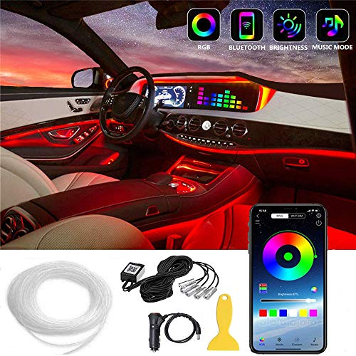 COOL·CAR Interior Car Lights,Multicolor Car LED Strip Light,5 in1 with 236.22inches Fiber Optic,Neon Ambient Lighting Kits,Music Sync Sound Active Function,Wireless Remote Control